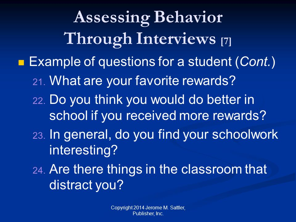 Assessing Behavior Through Interviews [7]